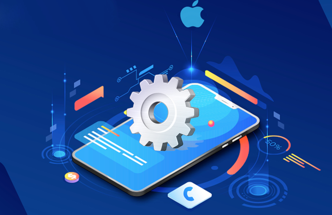 Mobile view ios development with setting icon