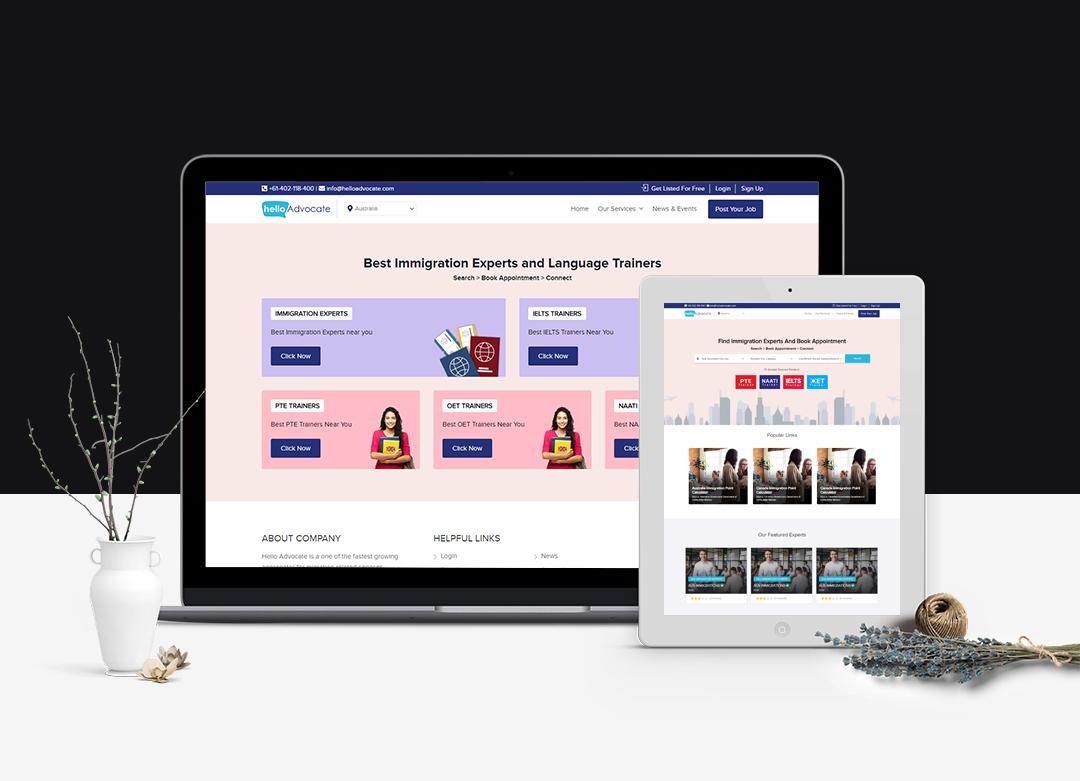 Hello advocate website portfolio in desktop and mobile view