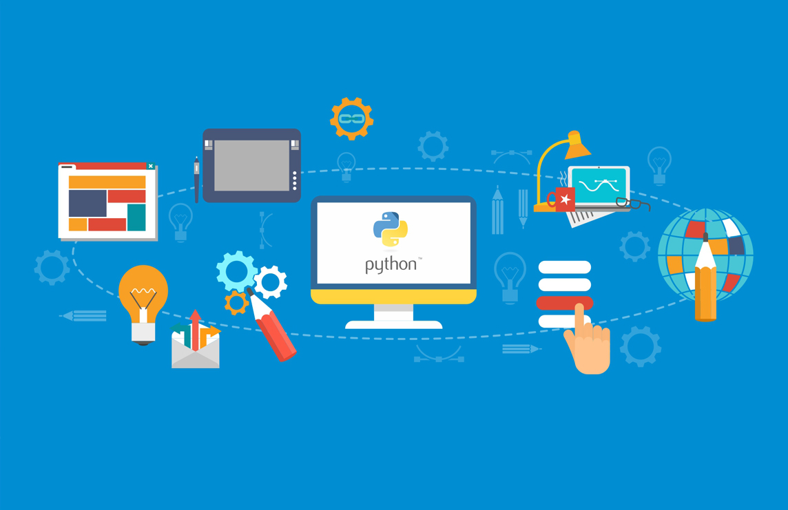 phython development desktop with blue background