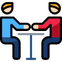 two person meeting vector