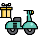 courier services icon with scooter