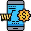 ecommerce phone cart view vector